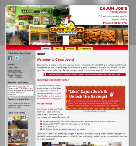 Cajun Joe's Restaurant, brighton, mi, studio 544, web design, freelance web designer