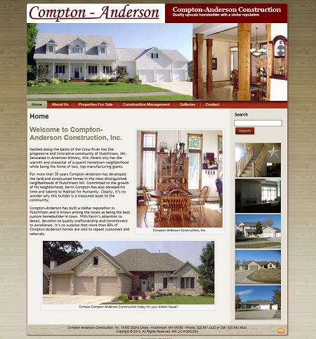 compton anderson construction, builders, kevin compton, mark lewandowski, studio 544, web design, freelance web designer, hutchinson, mn