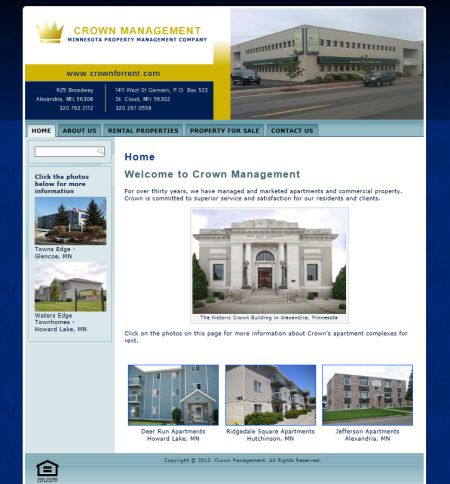 crown management, property management, alexandria, st. cloud, mn, stearns county