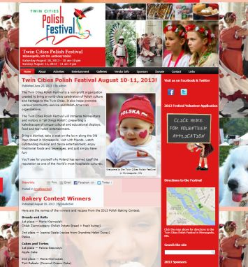 Twin Cities Polish Festival, studio 544, freelance web design, mn web designer