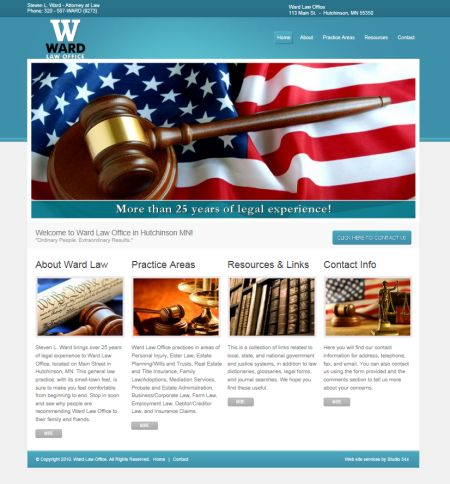 Steve Ward Law, hutchinson, mn, attorney, lawyer, studio 544, freelance web design