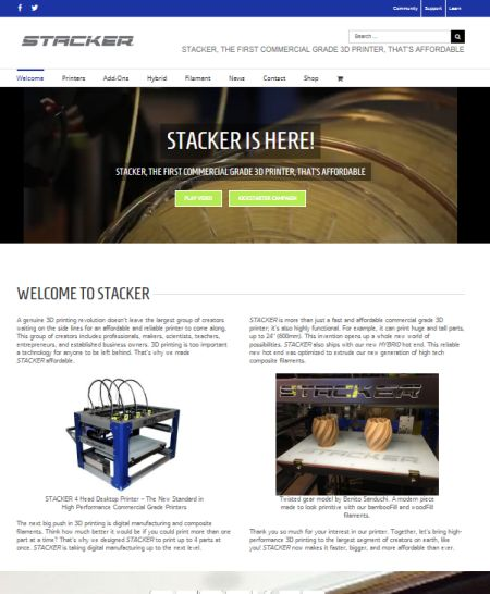 stacker 3d, printers, 2-head, 4-head, studio 544, web design, hutchinson, mn, minnesota