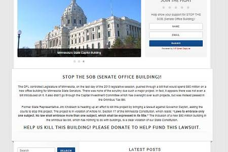 stop the sob, senate office building, jim knoblach, mn, minnesota, senate office building, lawsuit, governor, mark dayton, st. paul