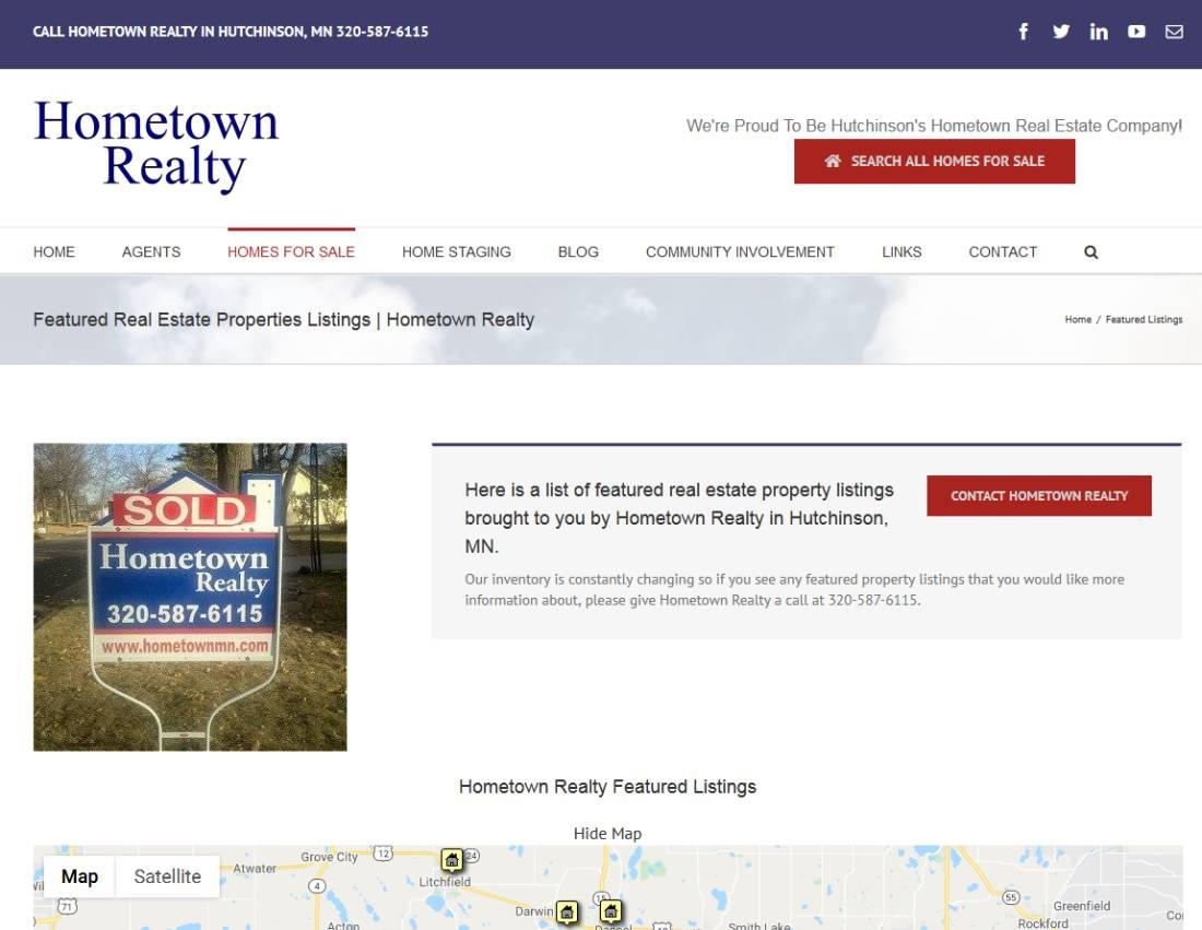 hometown realty, hutchinson, mn, studio 544, freelance web designer, web design