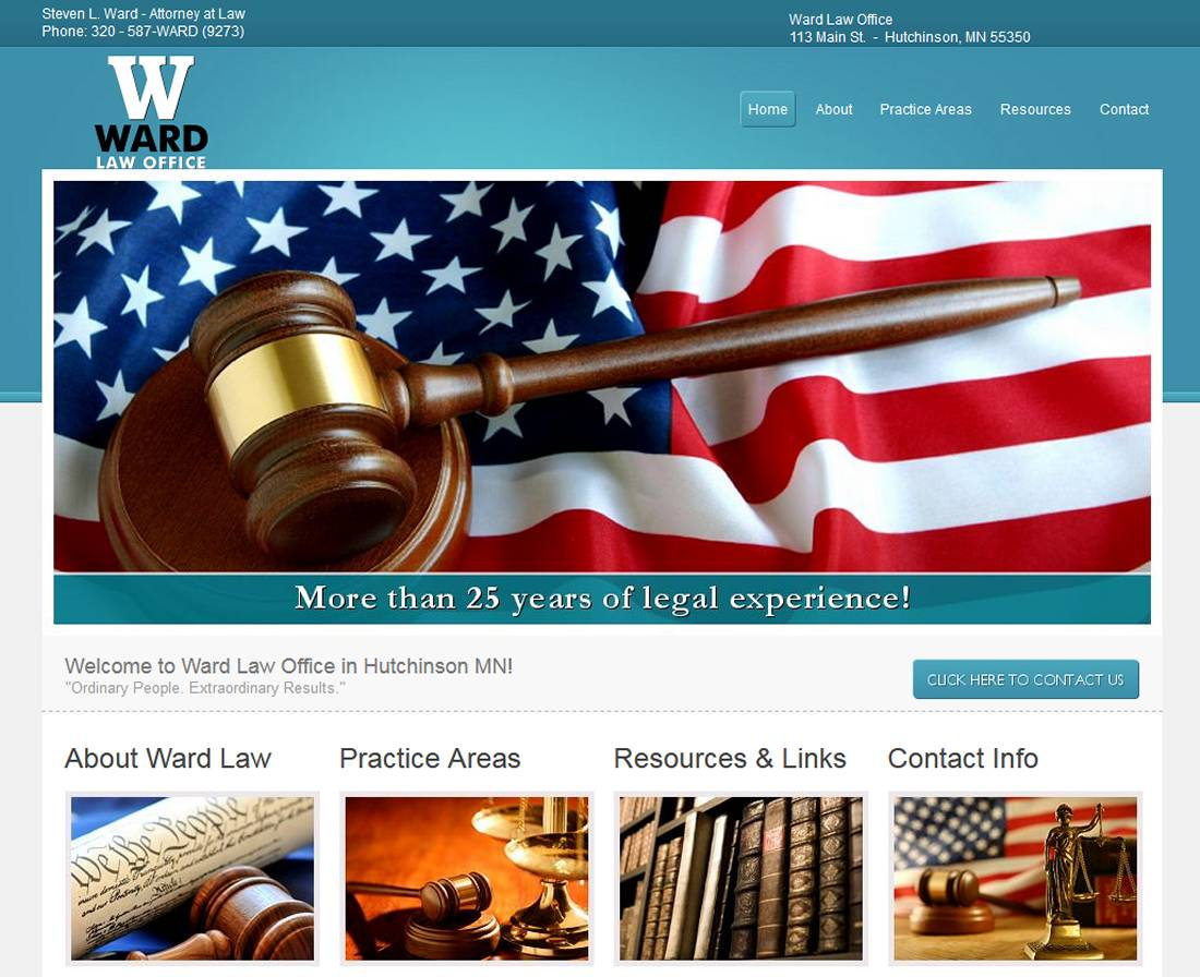 steve ward, steven l ward, attorney, lawyer, hutchinson, mn, law office, studio 544, web design, mark lewandowski
